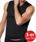 Preview: Conta 440-5880 Herren Shirt Feinripp ohne Arm Single-Jersey schwarz 3-er Sparpack